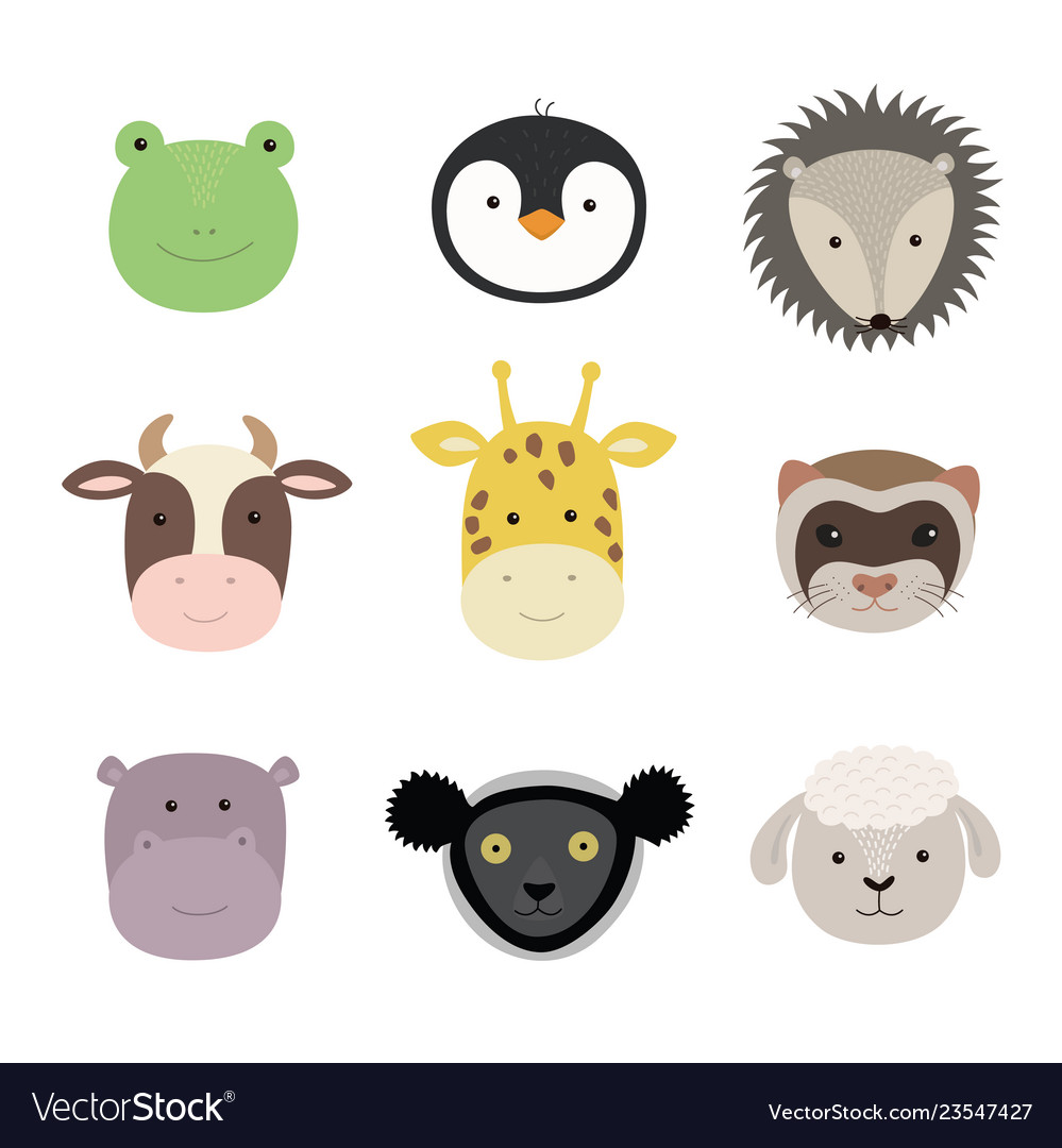 Set cute funny animals frog sheep cow
