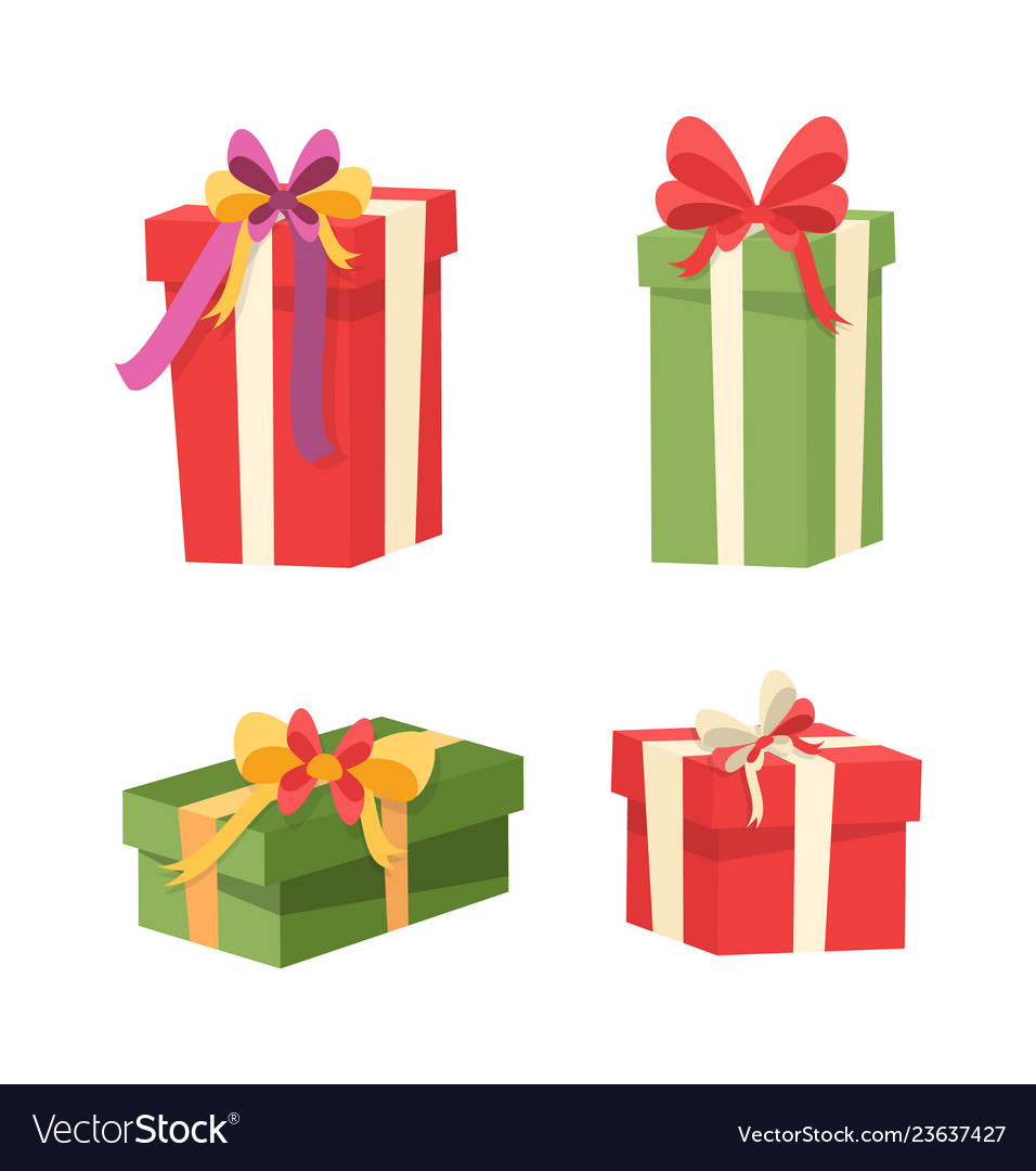 Set of packages with surprises inside gifts icons