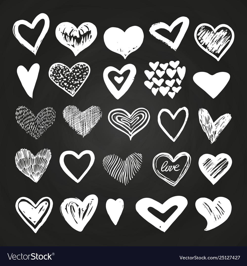 Sketch white hearts set on blackboard