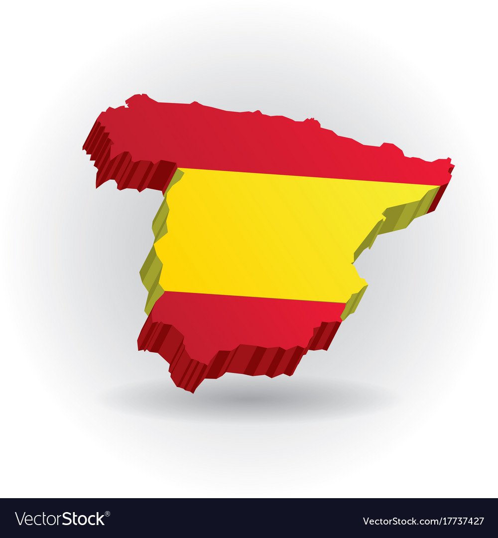 Three dimensional map of spain in spanish flag