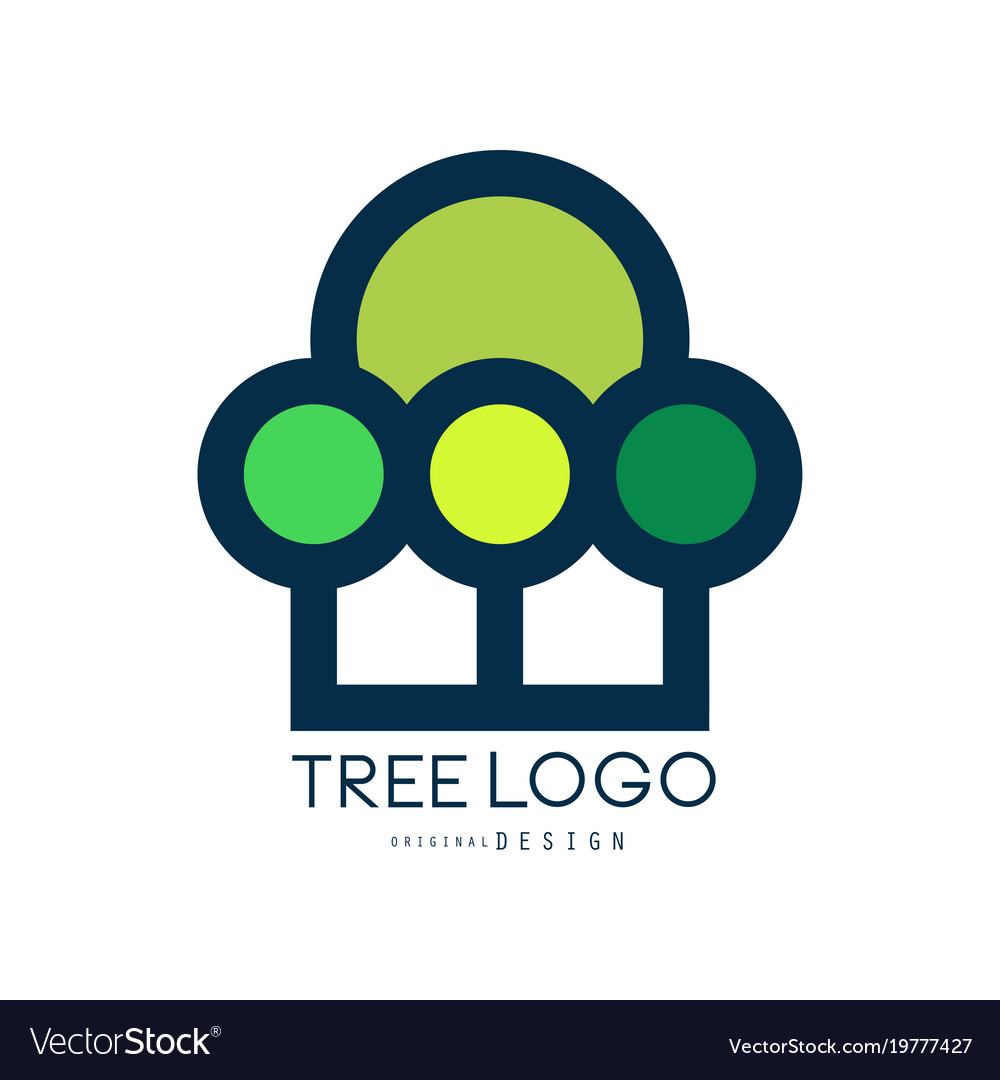 Tree logo original design eco and bio badge vector image