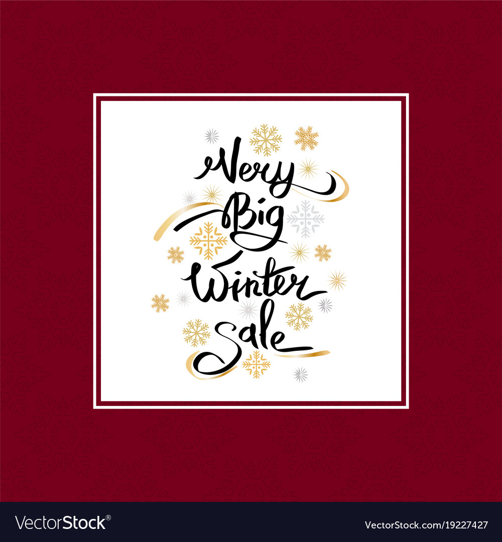 Very big winter sale inscription on snowflakes