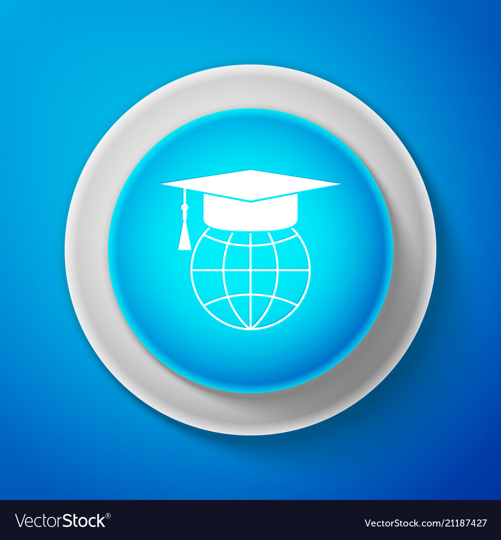 White graduation cap on globe icon isolated