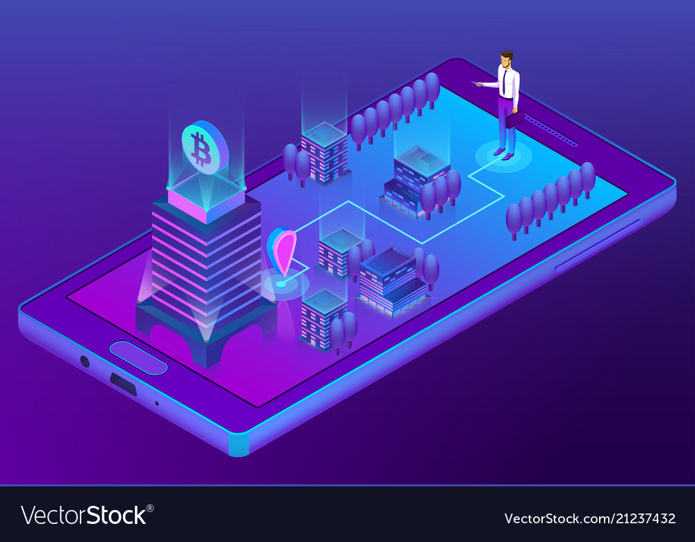 3d isometric concept with bitcoin mining
