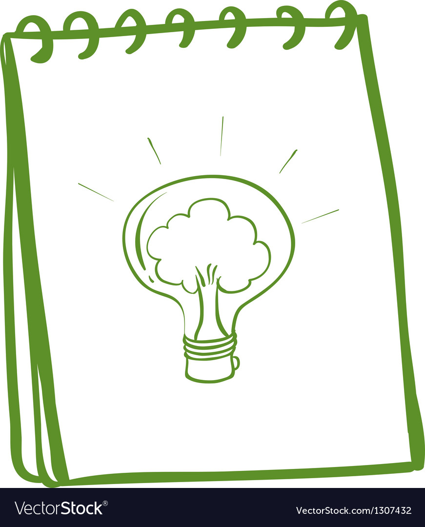 A green notebook with a bulb vector image