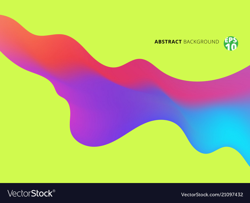 Abstract fluid shape colorful on green background