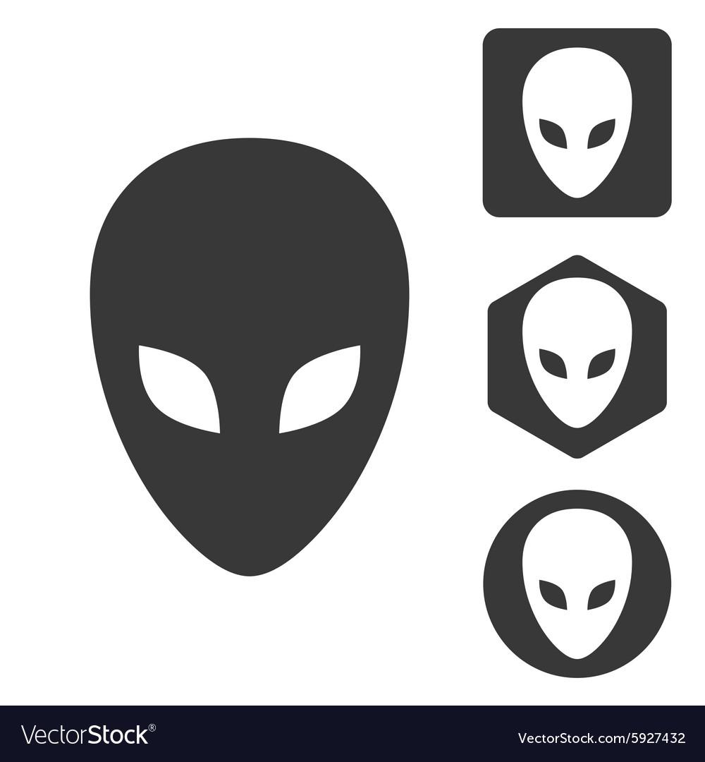 Alien icon set monochrome