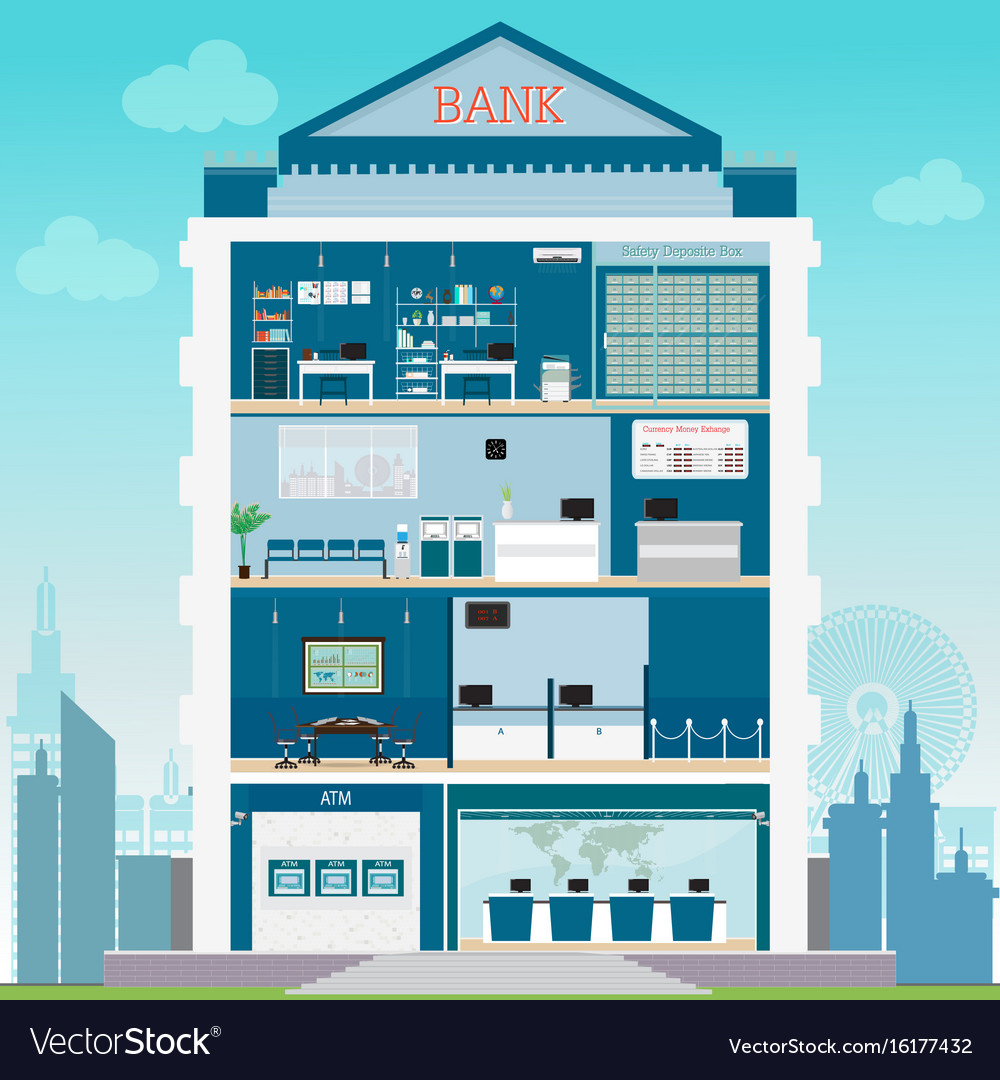 Bank building exterior and interior counter desk vector image