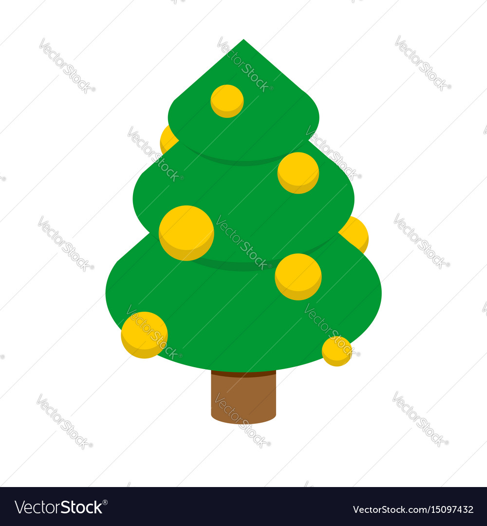 Christmas tree isometric style decorated fir vector image