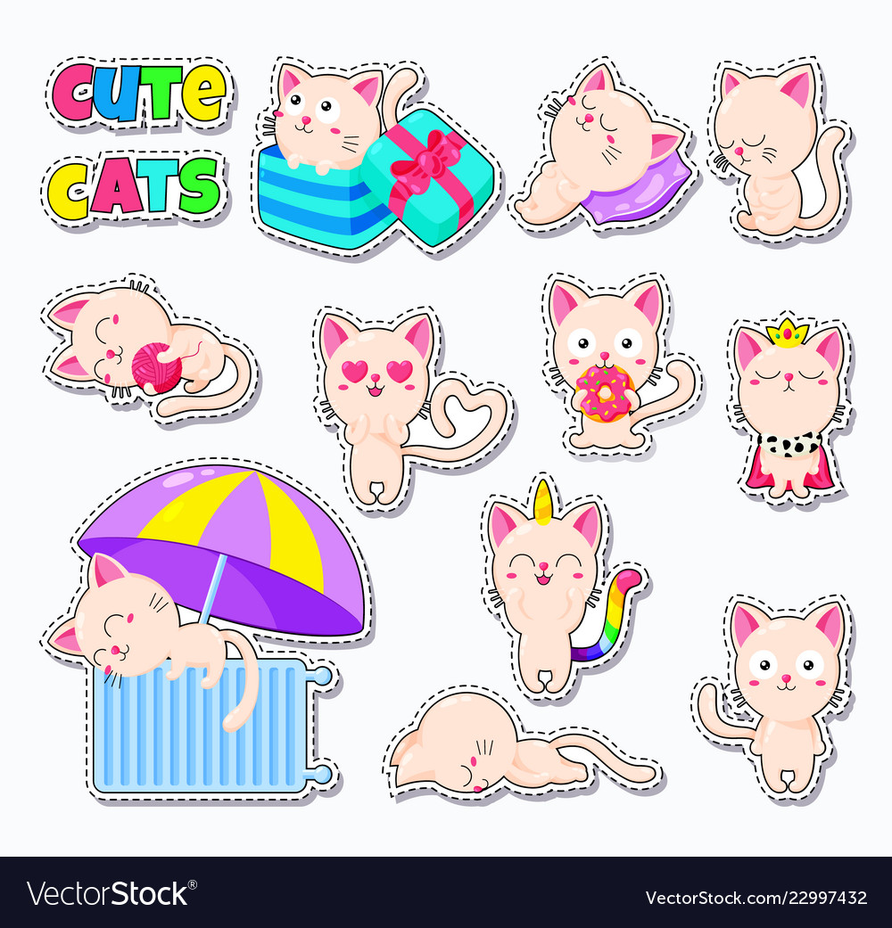 Collection of cute cats doodle character