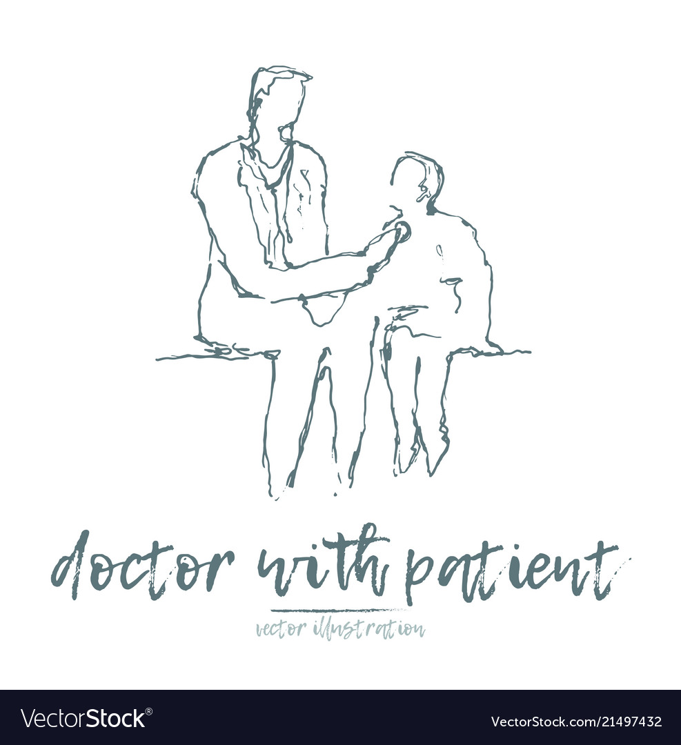 Doctor patient sketch hand drawn
