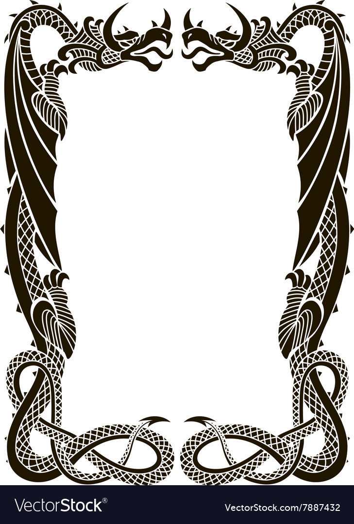 Dragons frame ornament isolated on White Vector Image