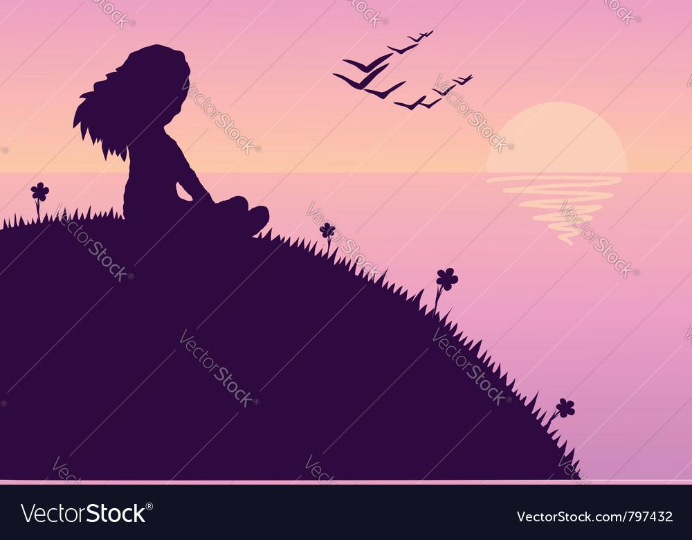 Girl glazing sunset