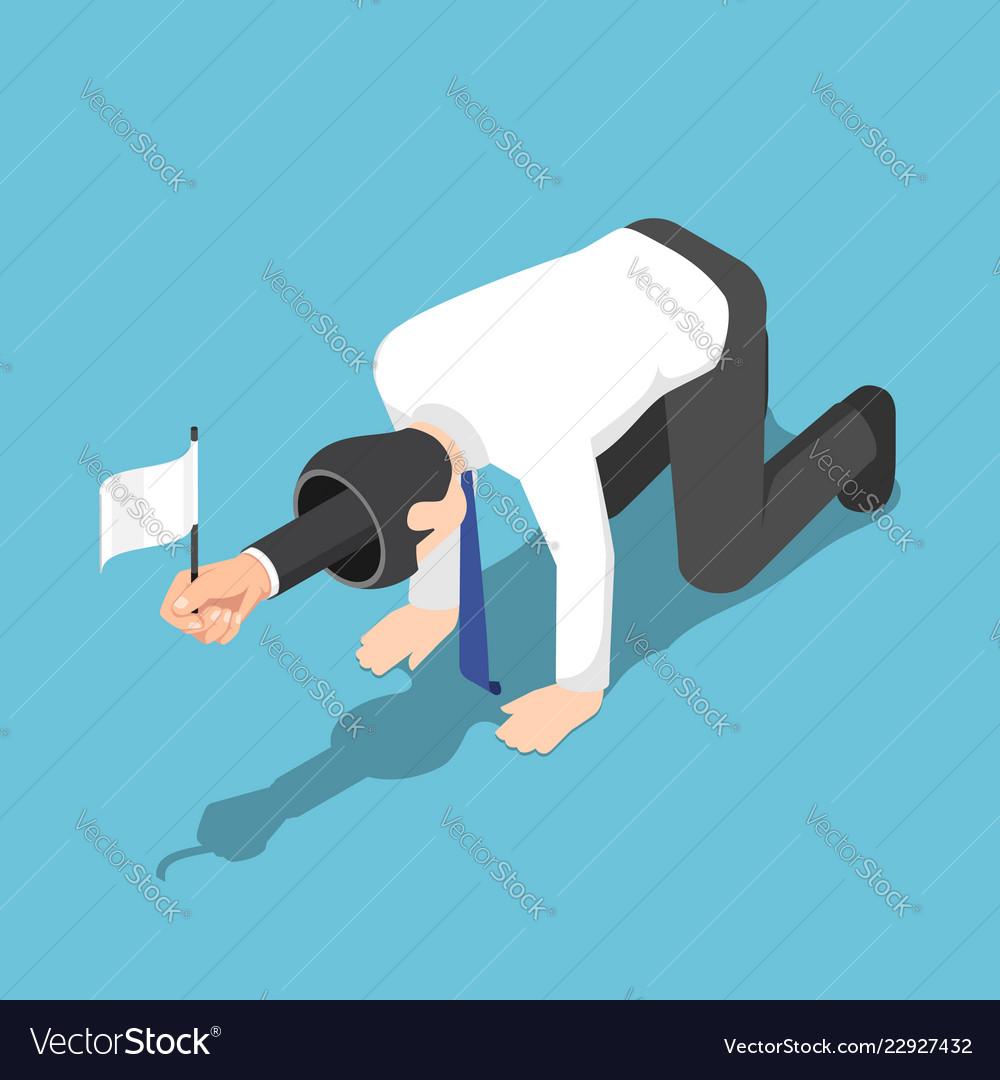 Isometric businessman raising the white flag and