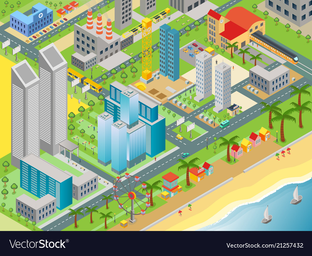 Isometric of city map with modern buildings