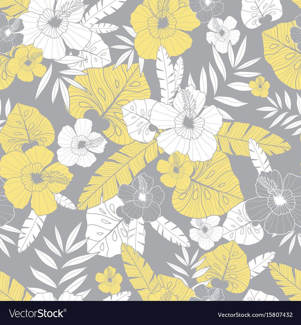 Light Yellow And Grey Drawing Tropical Royalty Free Vector