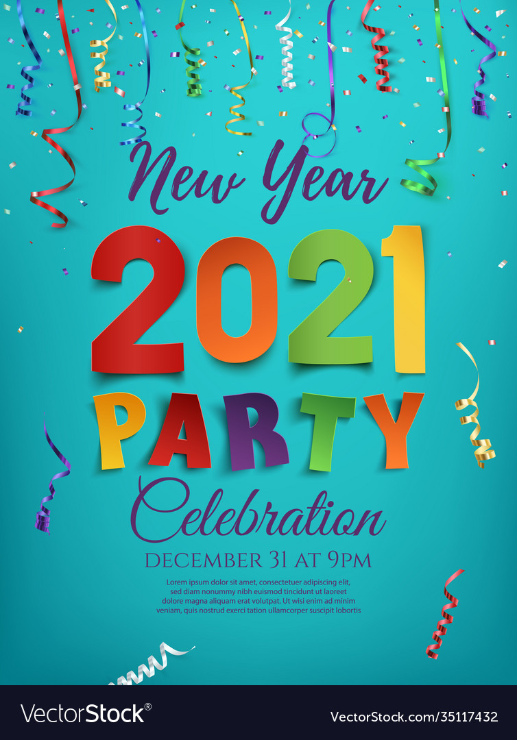 New year 2021 party poster template with confetti