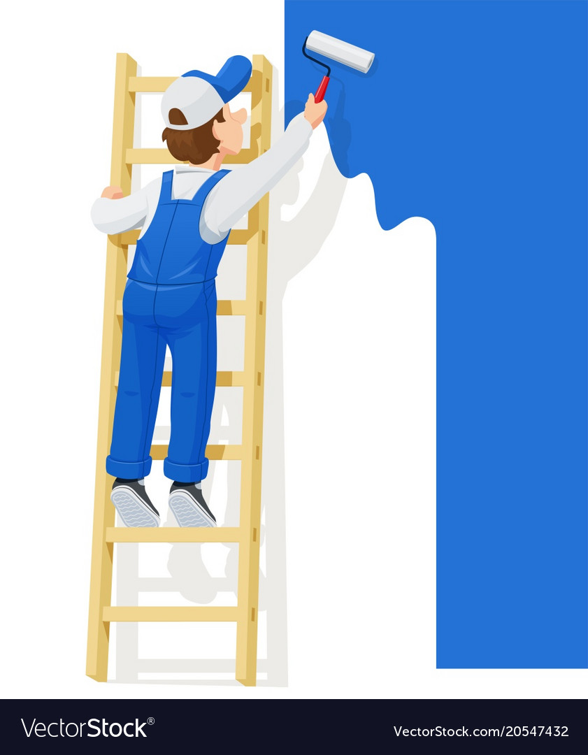 Painter at stairs paint wall