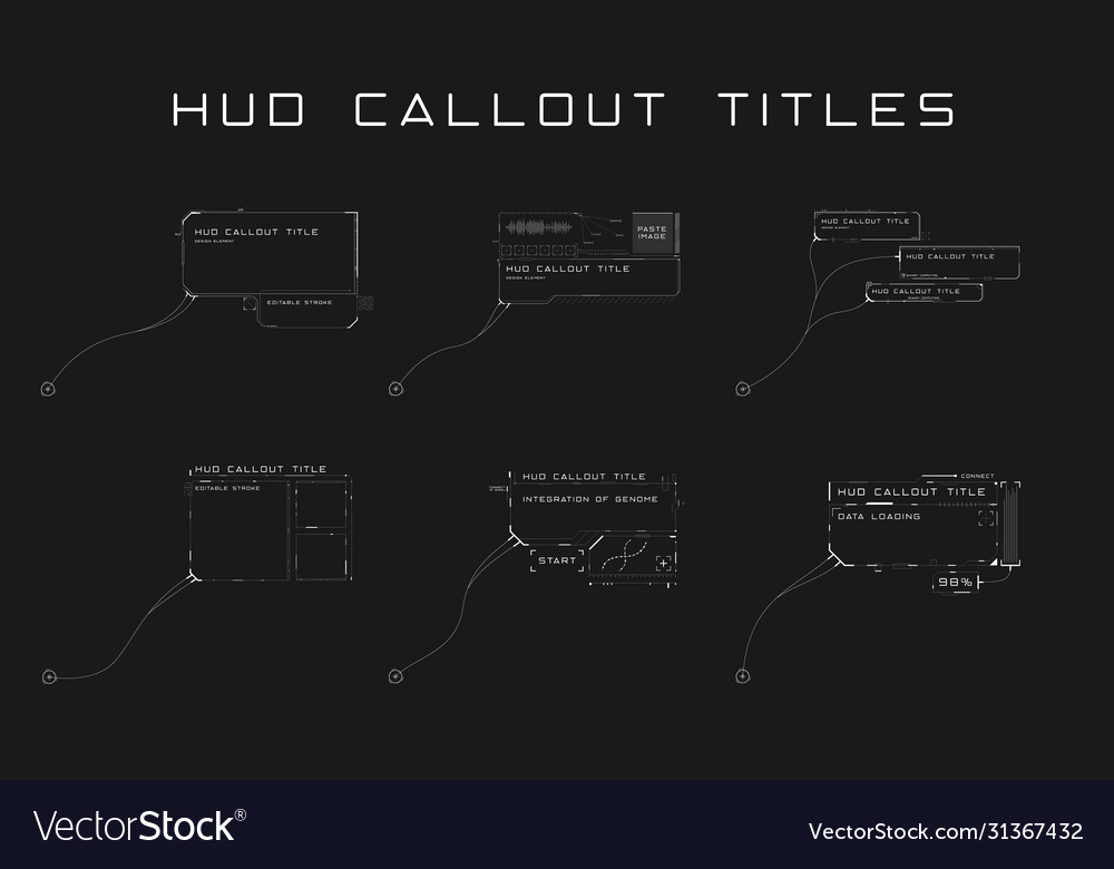 Set callout titles in hud style futuristic sci
