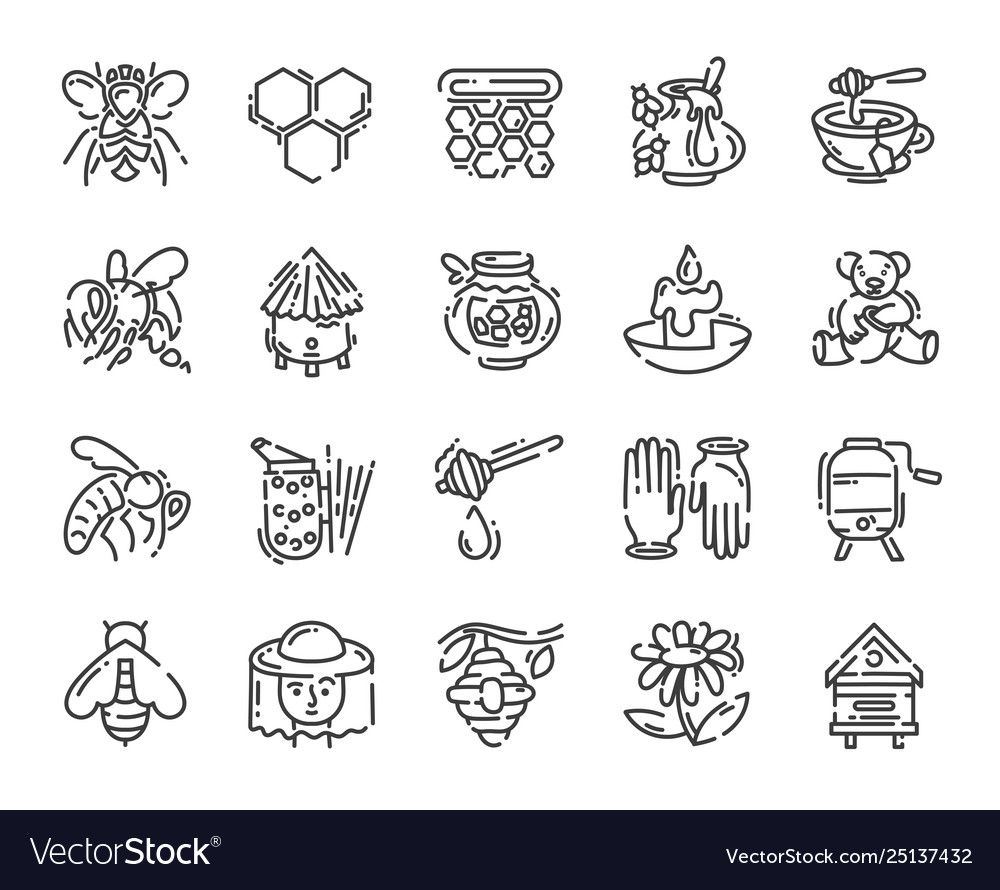 Set simple flat line art icon about beekeeping