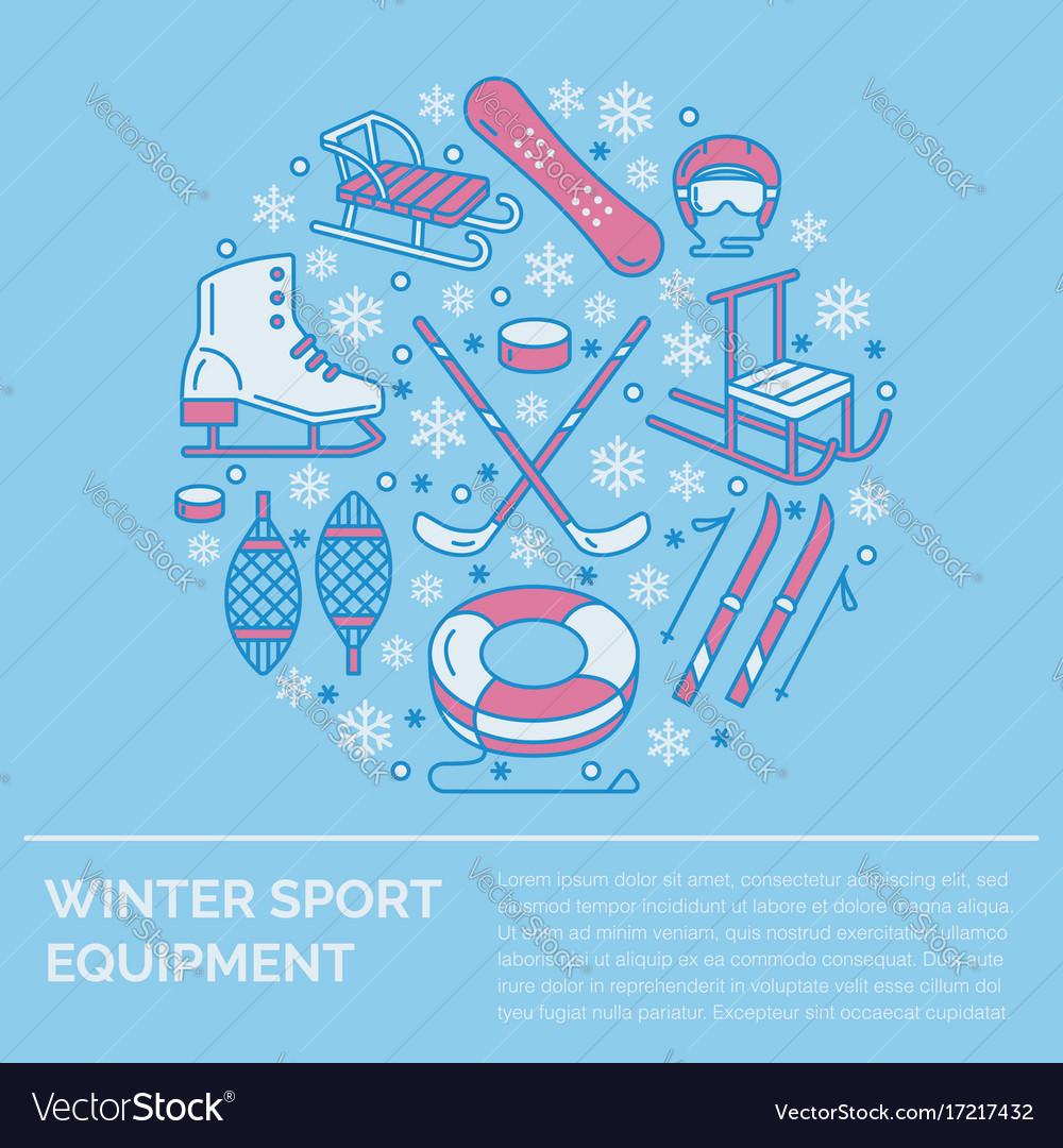 Winter sports banner equipment rent at ski resort vector image