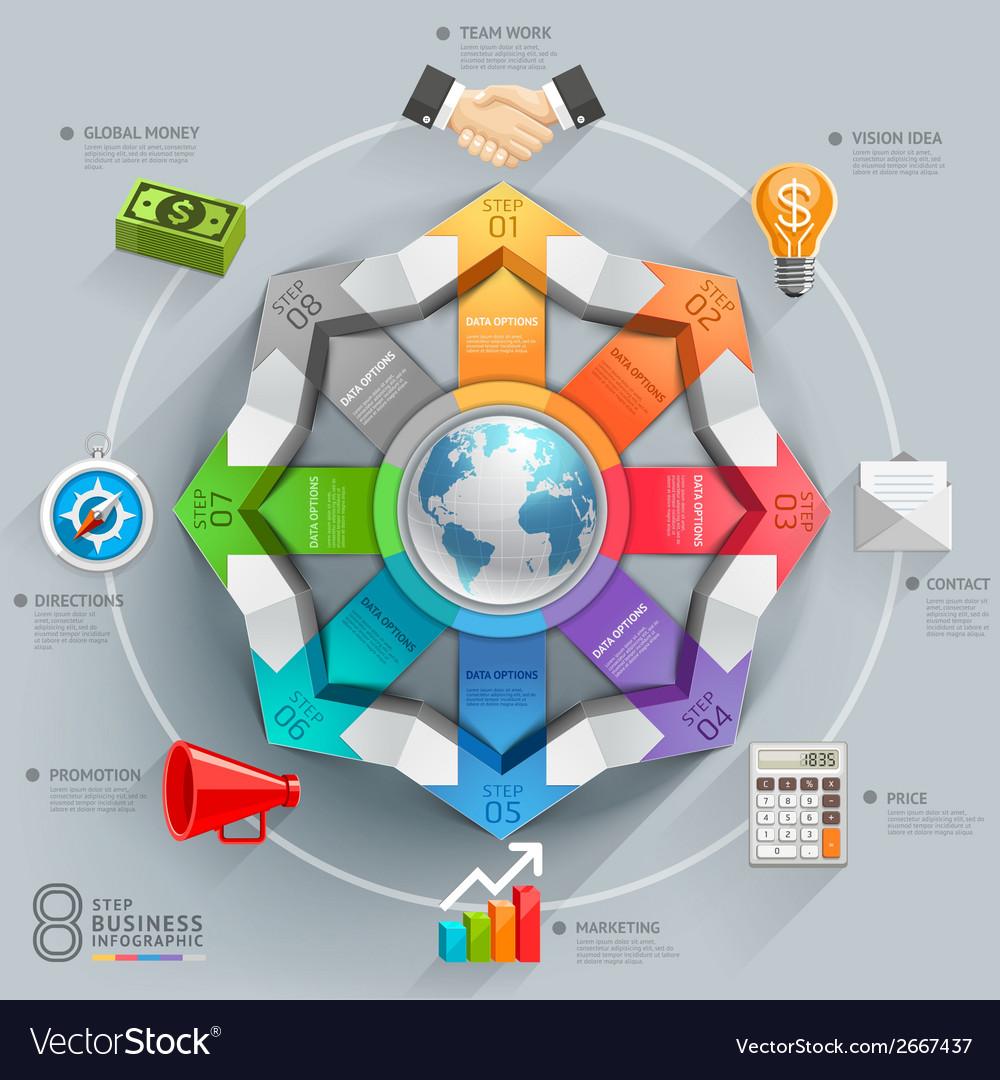 Business global arrow diagram vector image