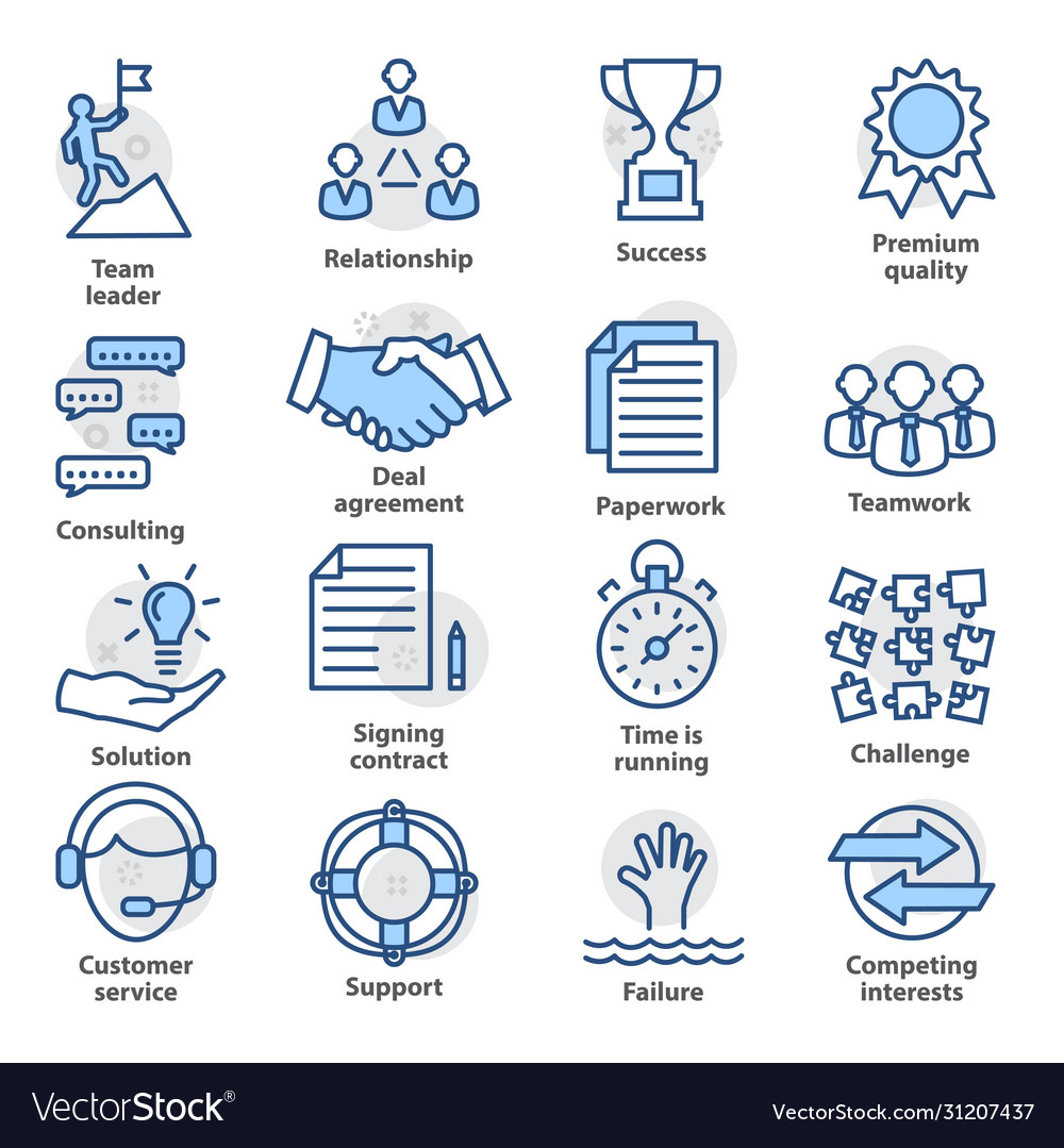 Business management icons set in line style vector