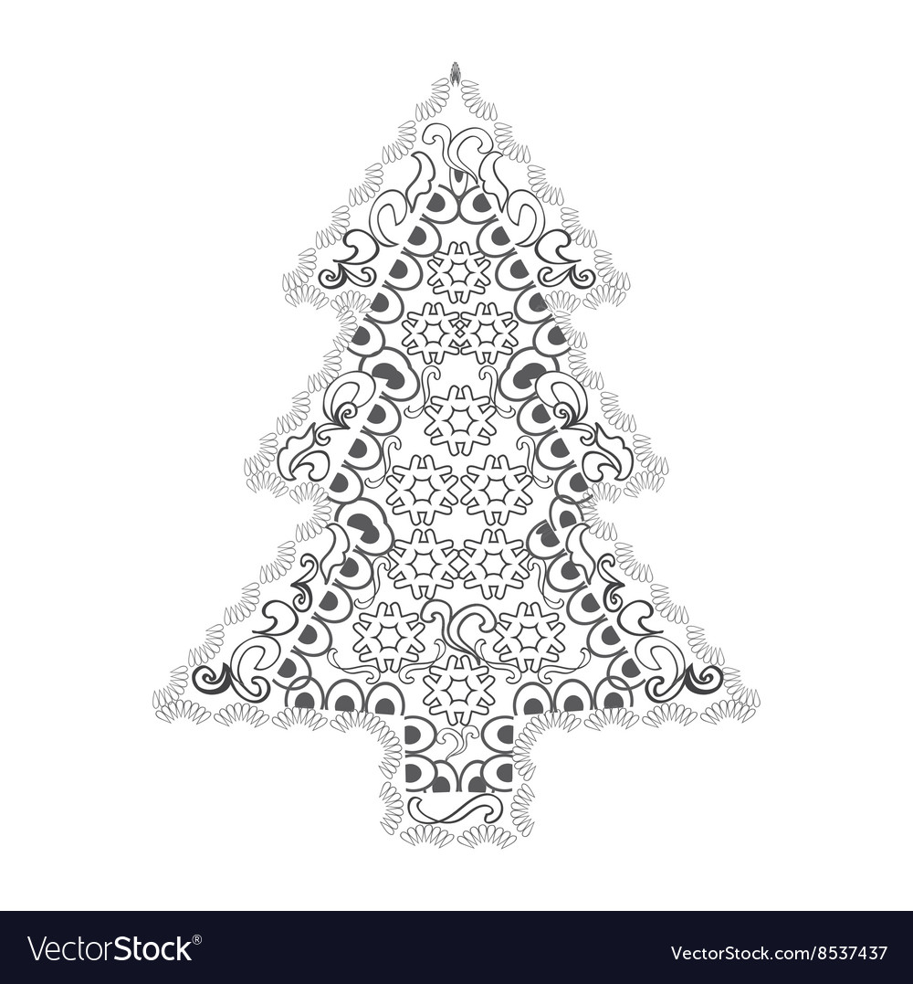 Christmas tree in zentangle style Royalty Free Vector Image