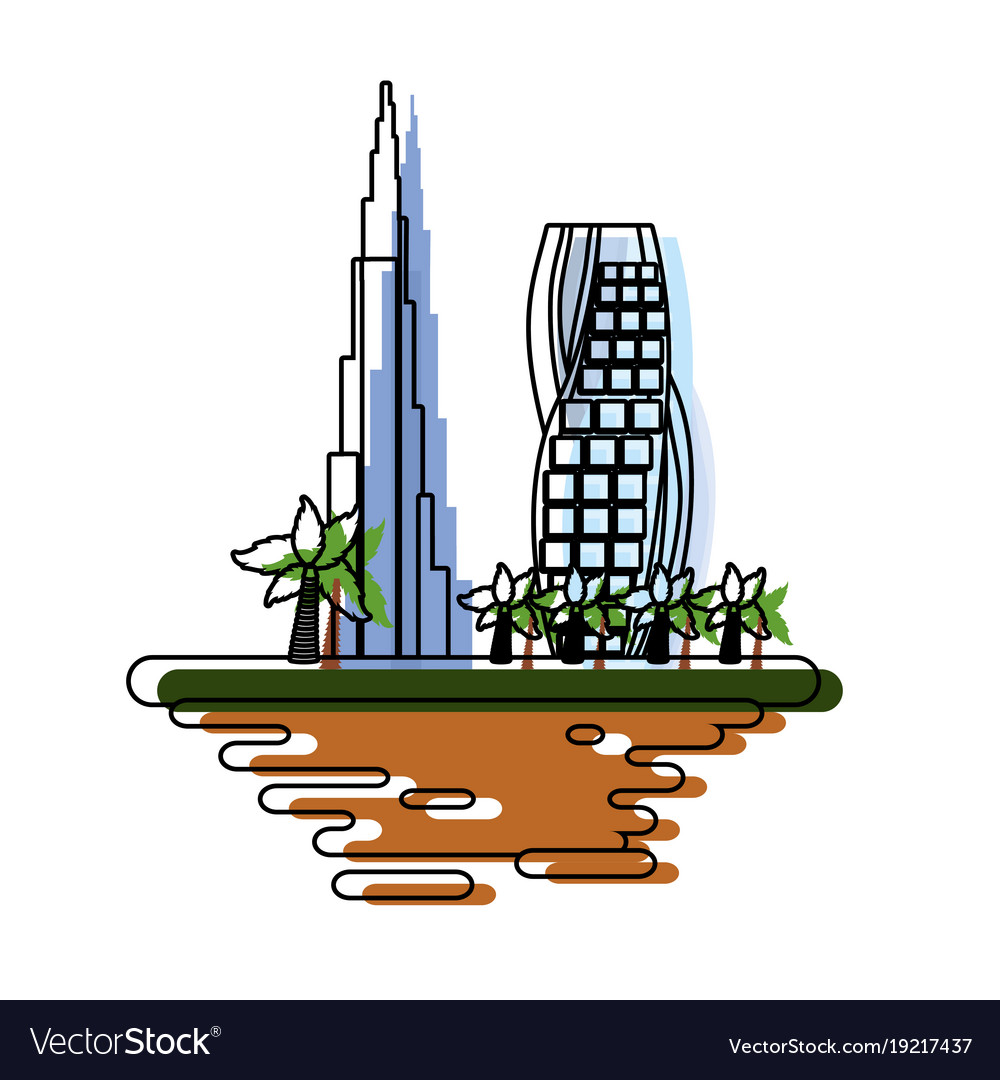 Dubai cityscape cartoon