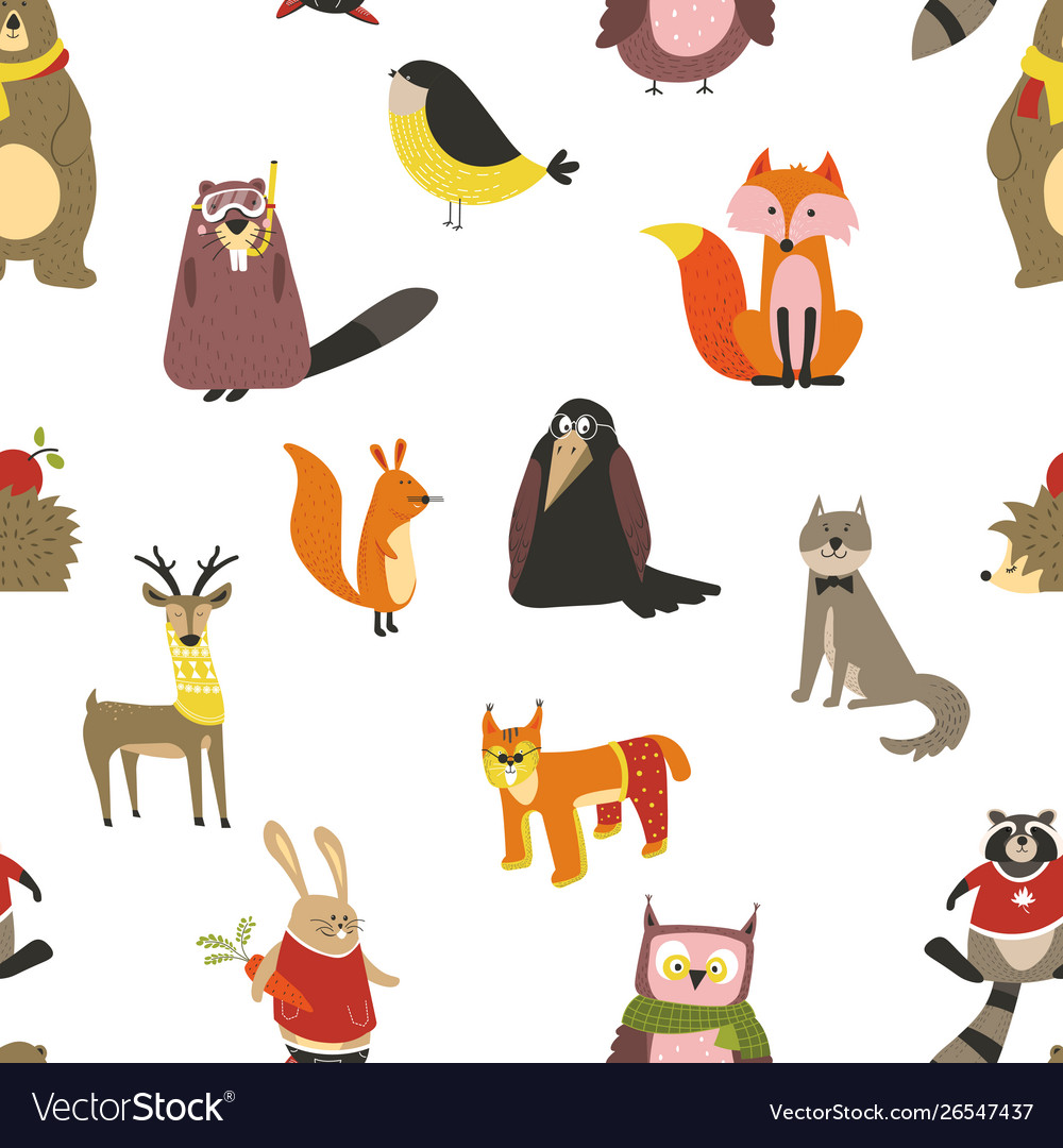 European animals and birds seamless pattern wild