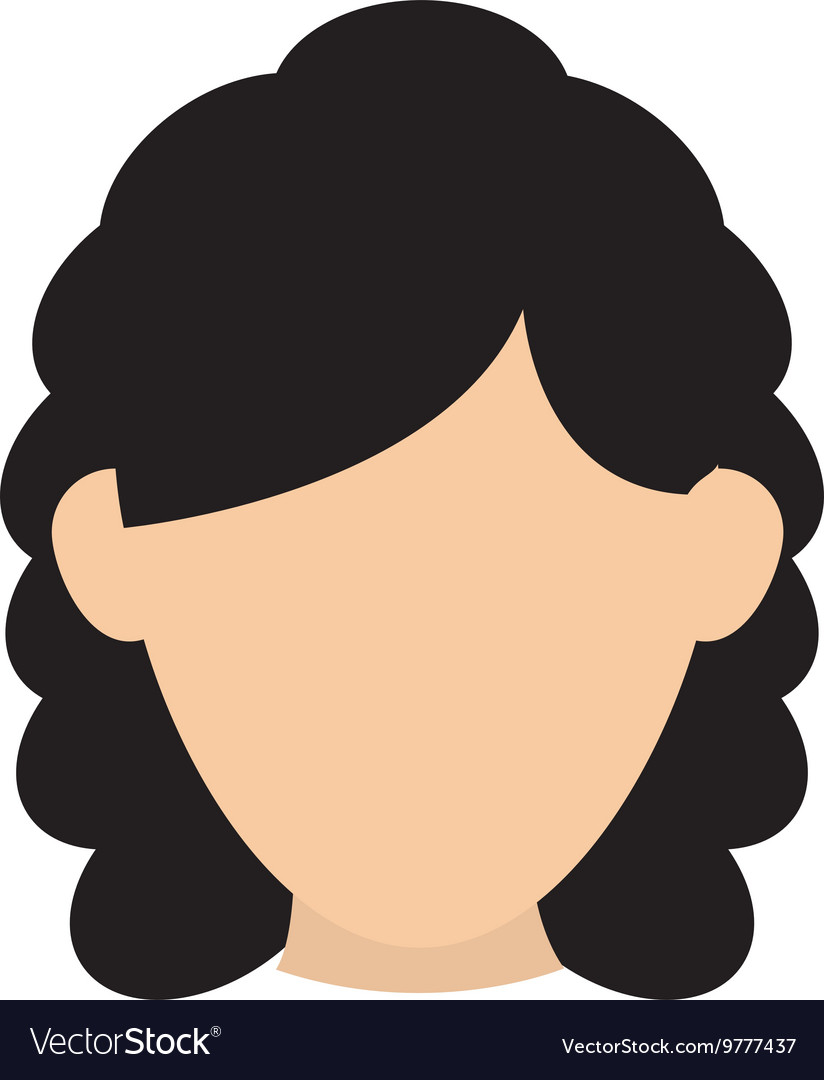 Faceless Woman With Curly Hair Portrait Icon Vector Image