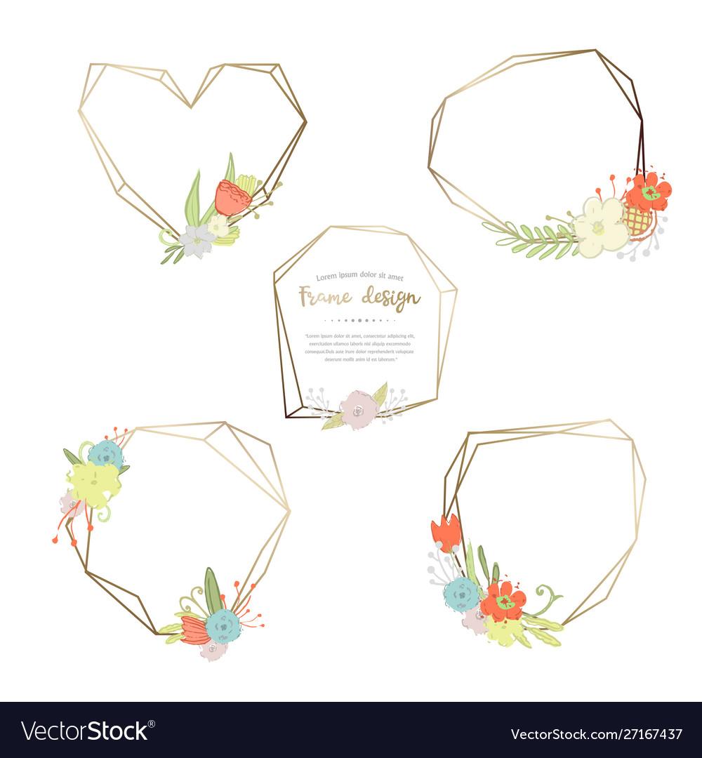 Floral and geometric poligonal frame