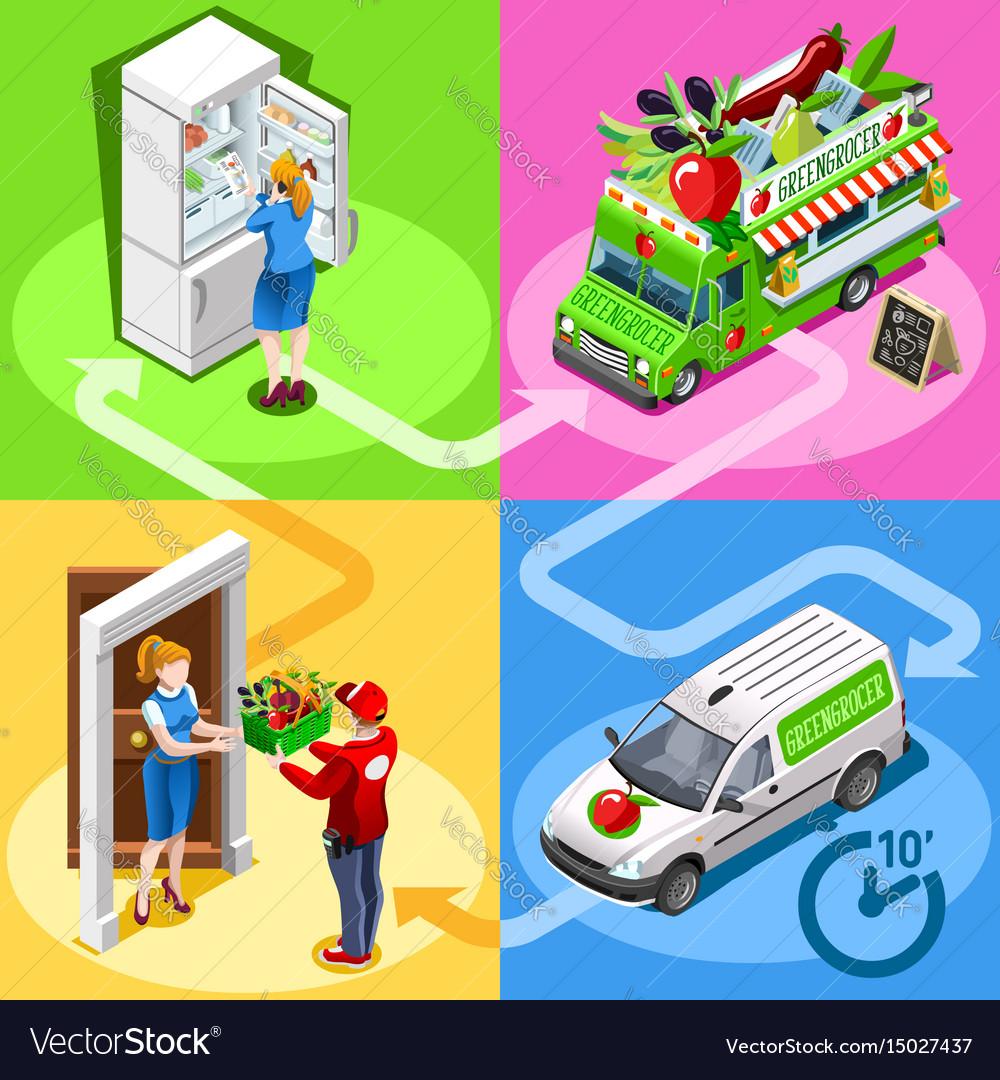 Food truck greengrocer vegetable home delivery