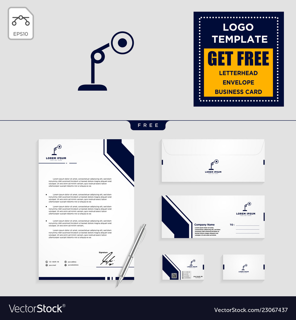 Light interior logo template and stationery
