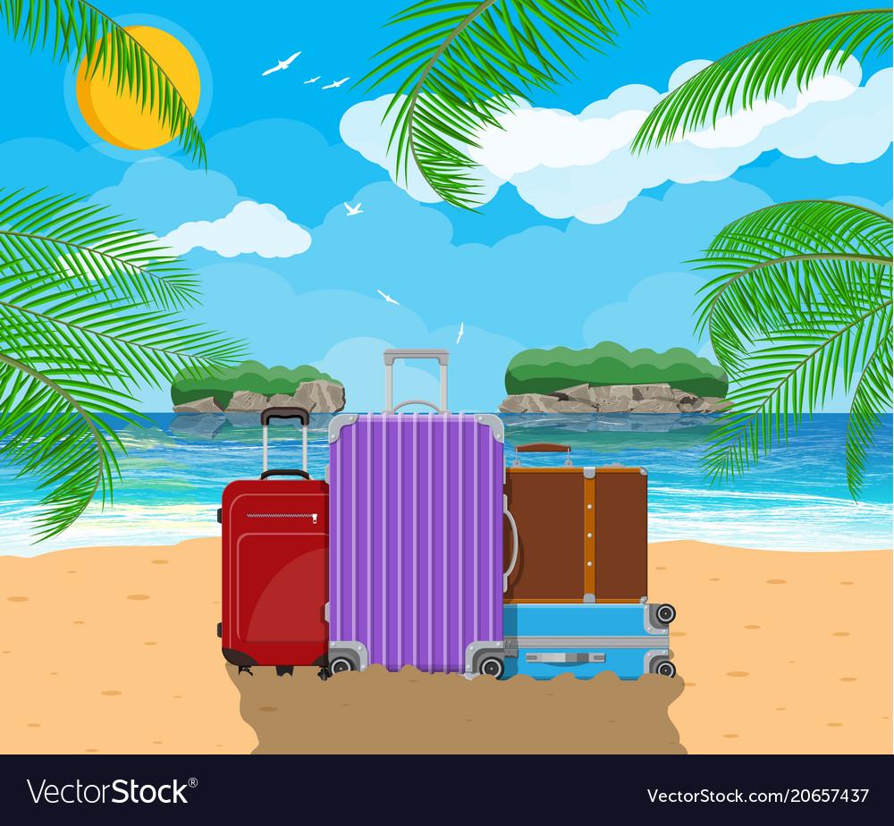 c681f83e18a6 Modern and vintage travel bag on beach