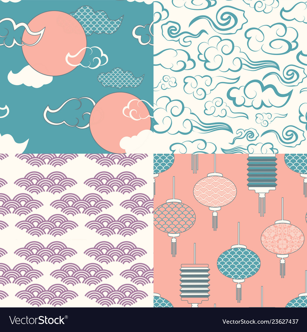 Set of chinese seamless patterns and