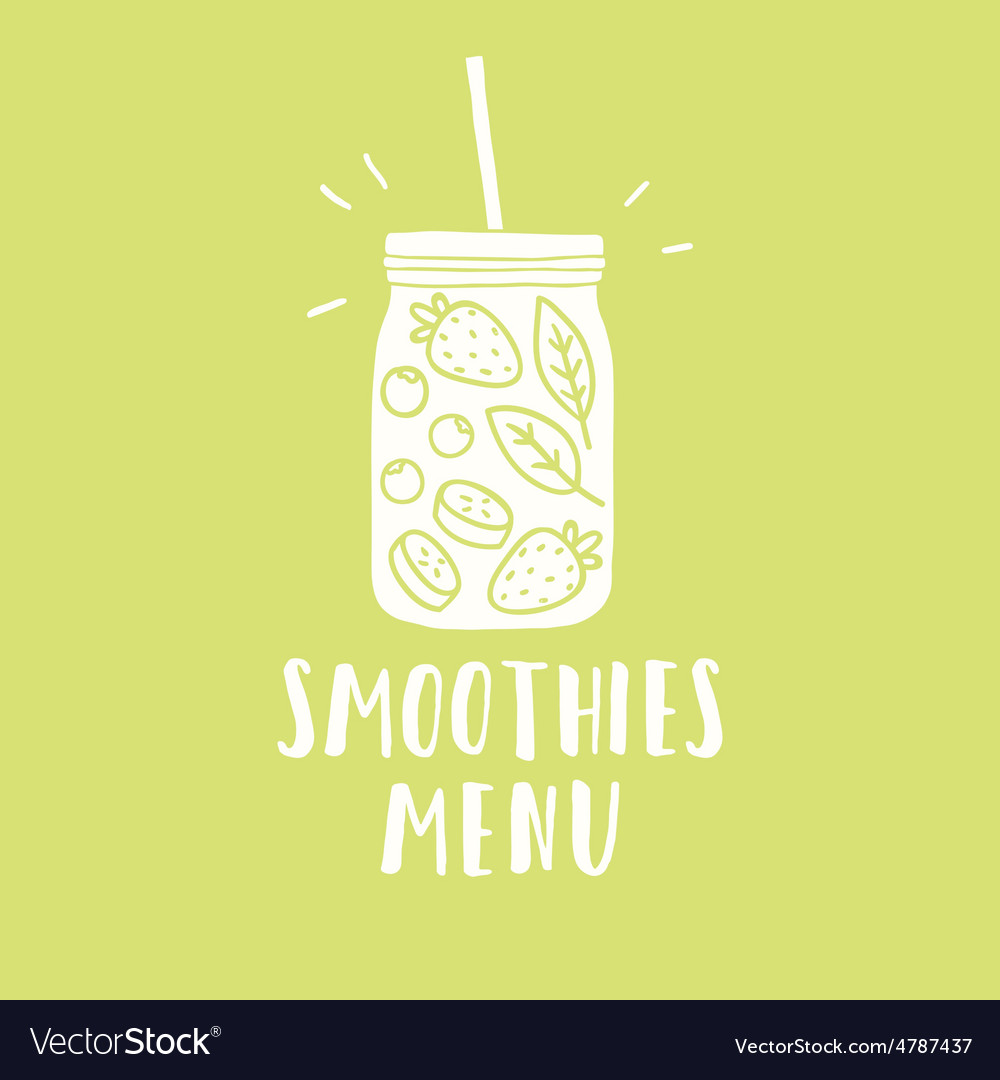 Smoothies menu Smoothie jar silhouette with