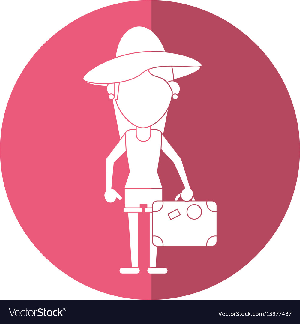 Traveler woman hat suitcase shadow vector image