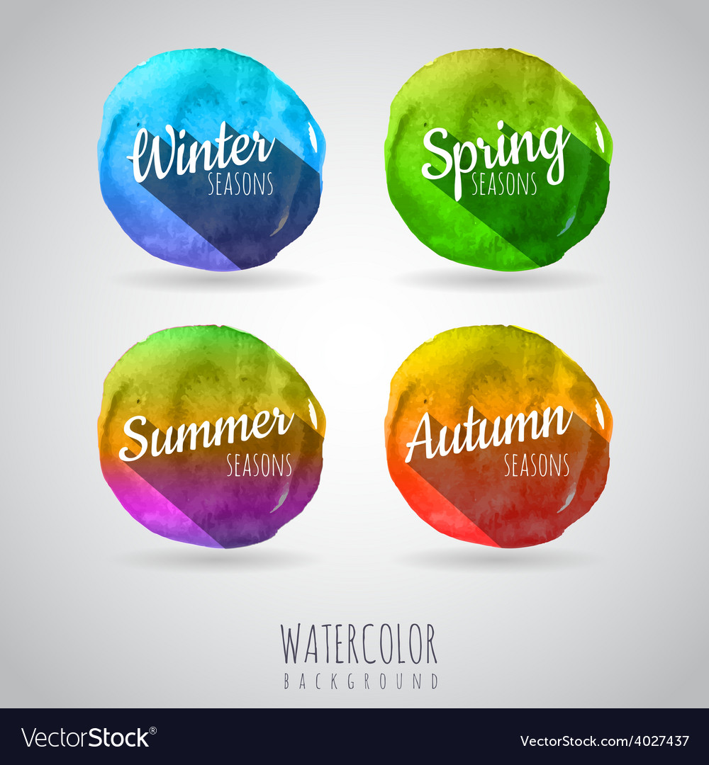 Watercolor abstract circles background Seasons