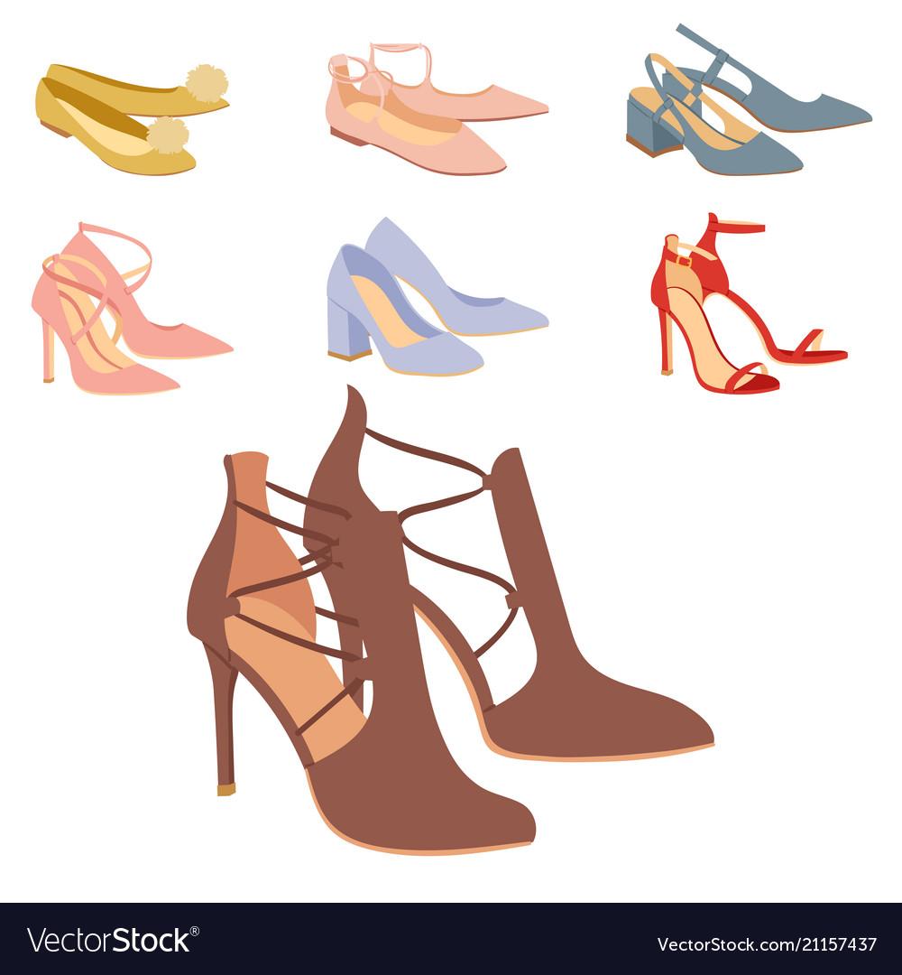 Womens shoes flat design footwear shoe