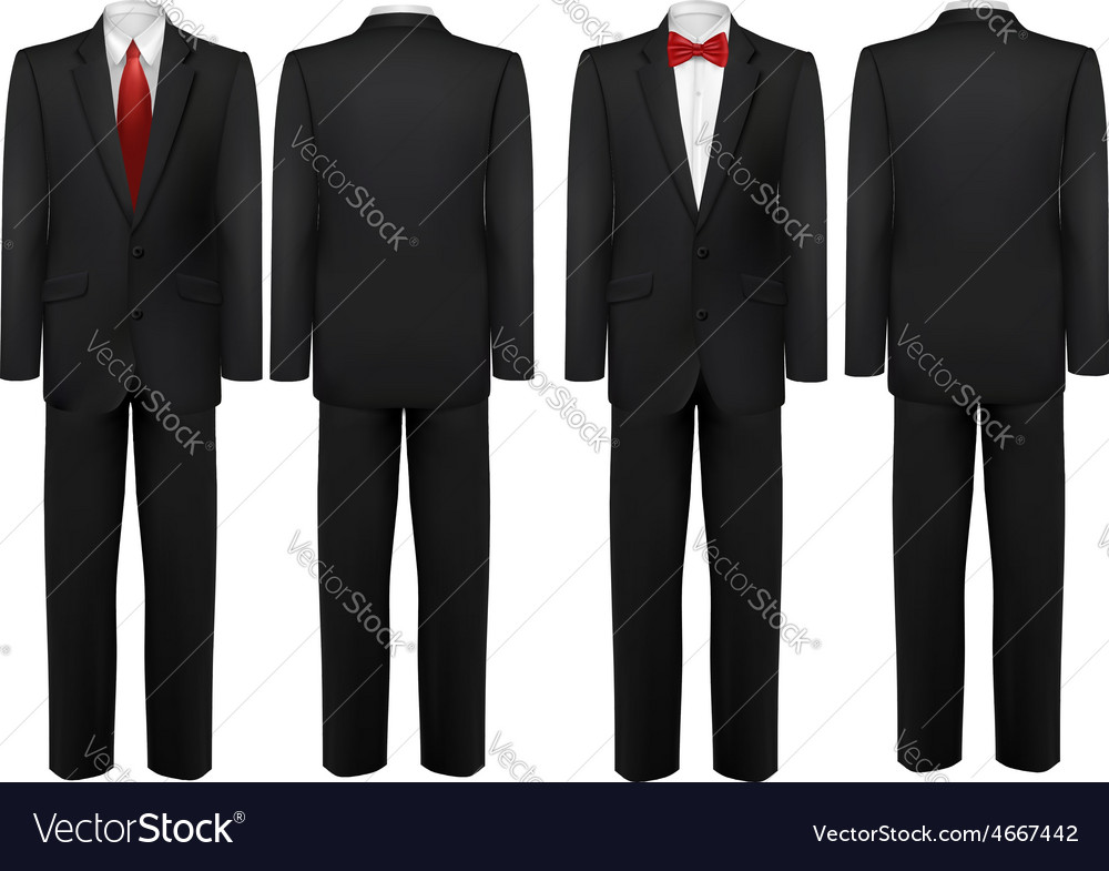 Black suit and white shirt with butterfly and tie vector image