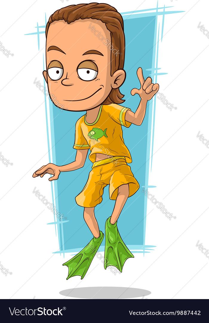 Cartoon handsome man in green flippers