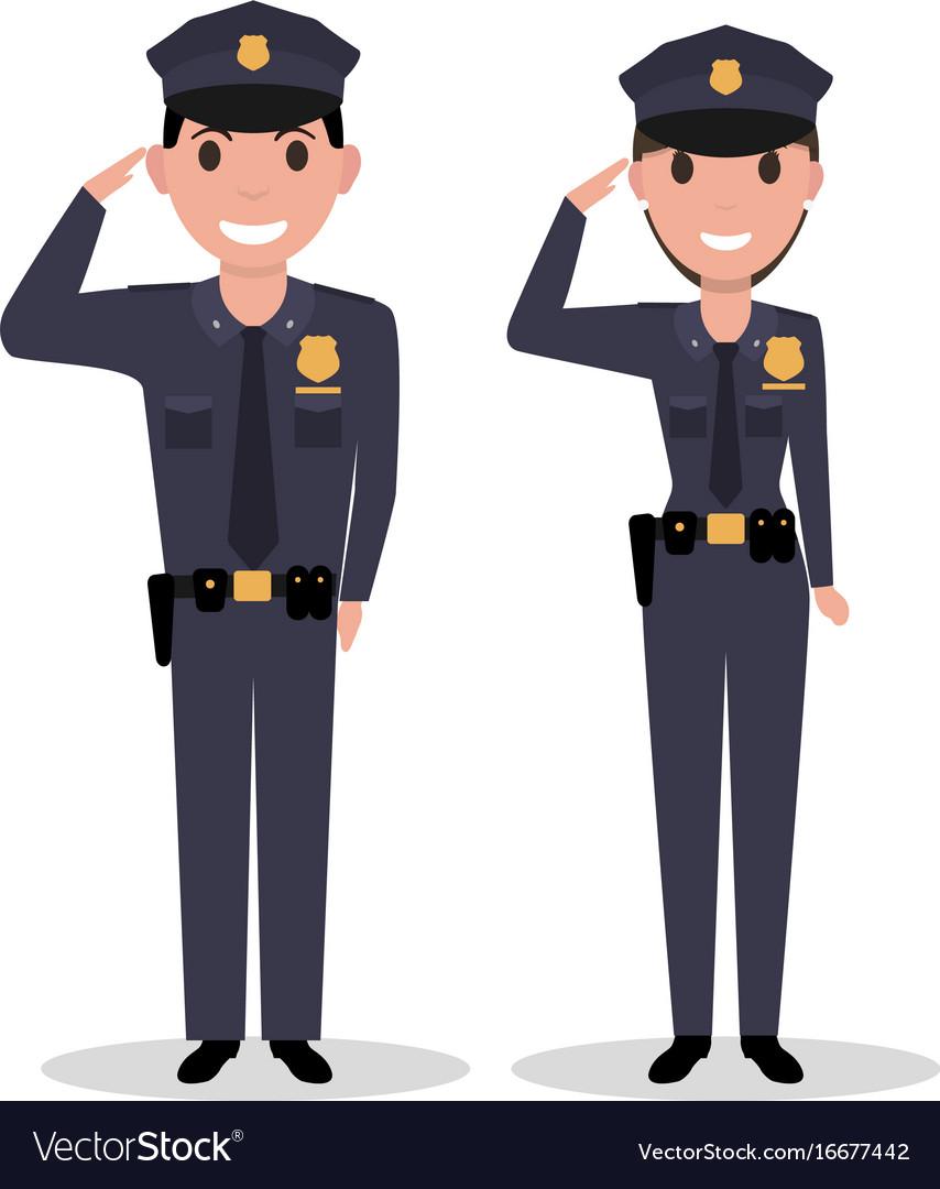 Cartoon policeman and police woman salutes