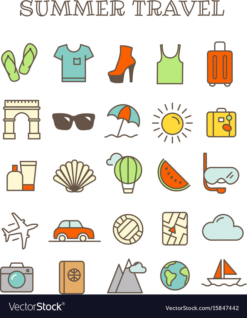 Different thin line color icons set summer travel