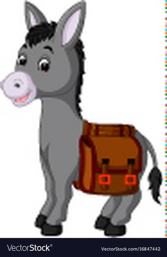 Donkey carries a bag