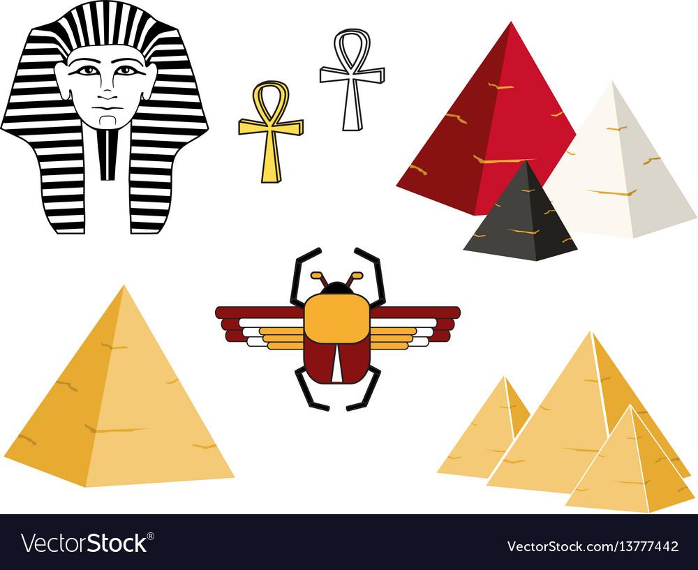 Egypt set ankh pyramid scarab pharaoh flat style vector image