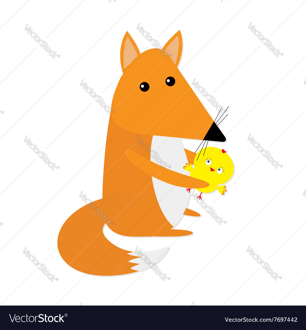 Fox and chicken friends Cute cartoon character vector image