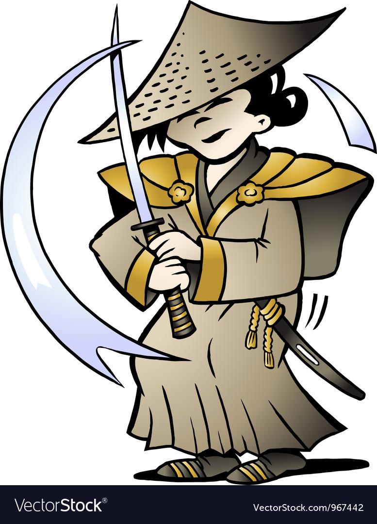 Hand-drawn of an Japanese Samurai