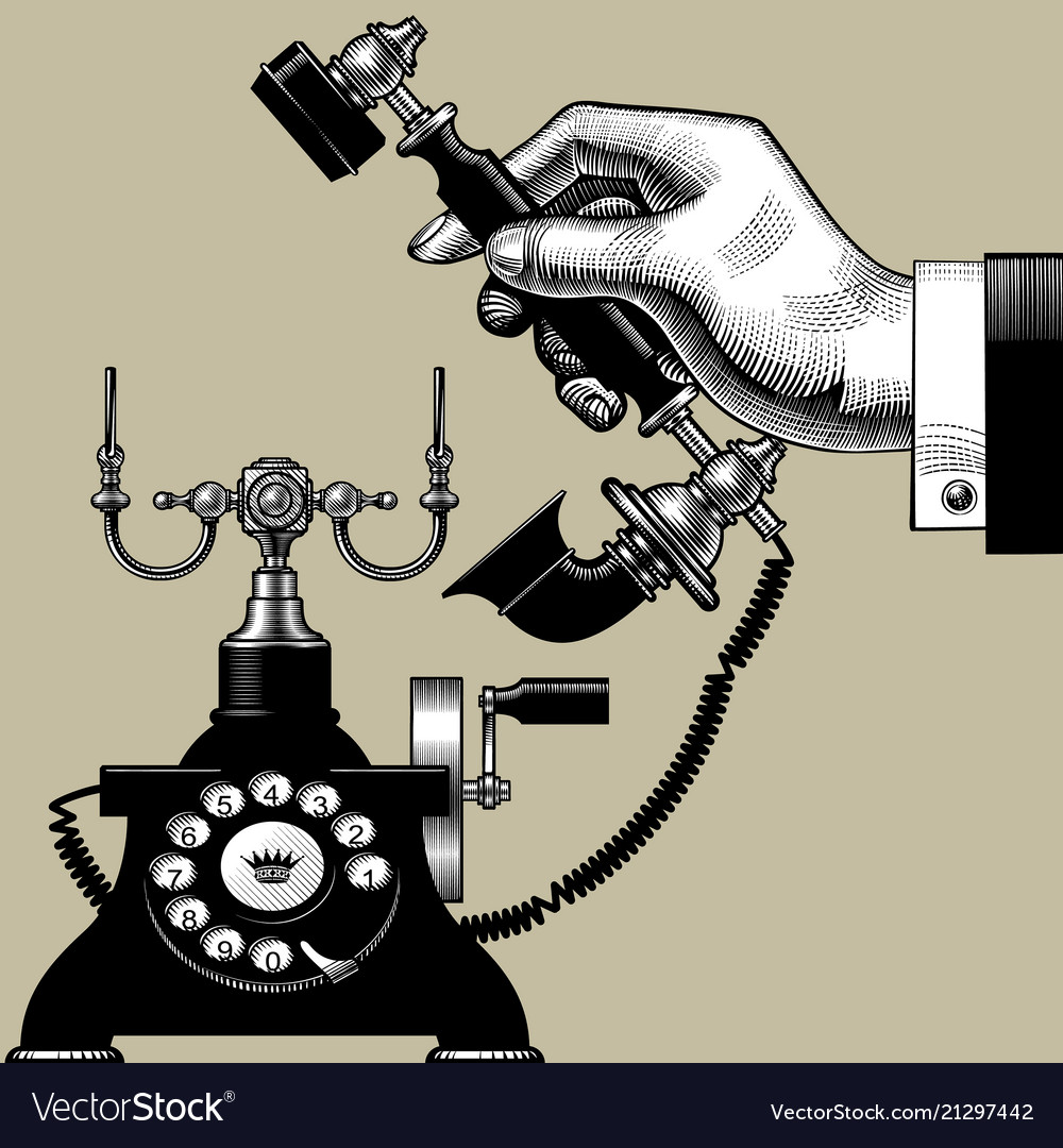 Hand of man with retro black phone