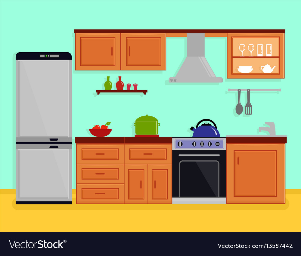 Cartoon Kitchen Furniture: Kitchen Interior With Kitchen Room Furniture Vector Image